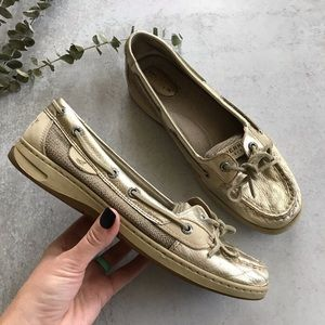 SPERRY Gold Metallic Angelfish Boat Shoes 8.5